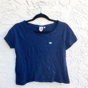 Lacoste blue cropped tee shirt